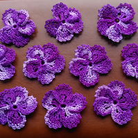 DARK PURPLE  MULTICOLOURED FLOWERS - 5 PETALS LOVELY FRILLED EDGING - 4cm