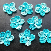 8 TURQUOISE  MULTICOLOURED FLOWERS, 5 PETALS - 3.5cm ACROSS - CARD EMBELLISMENTS