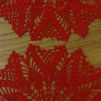 A PAIR OF RED TABLE MATS or DOILIES - EACH MEASURE 21cm - LOVELY PICOT EDGE