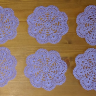 SET of 6 COTTON COASTERS in LILAC - LOVELY CROCHET DESIGN 10.5cm