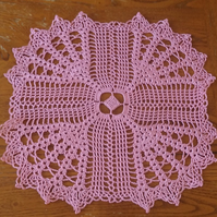 PINK TABLE CENTREPIECE or DOILY HAND CROCHET in 100% COTTON - 31cm SQUARE