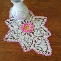 PAIR OF CREAM TABLE DECORATIONS - UNUSUAL SHAPE WITH PINK EDGE & RAISED FLOWER