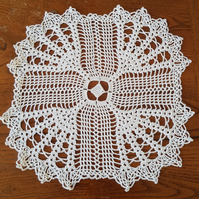 CREAM TABLE CENTREPIECE or DOILY HAND CROCHET in 100% COTTON - 30cm SQUARE