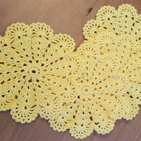 TABLE DECORATIONS - SET of 4 CROCHET COASTERS, MATS  IN YELLOW - 11.5cm