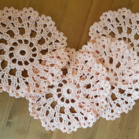 SET of 4 CROCHET COASTERS IN PEACH - IDEAL TABLE DECORATIONS - 11.5cm