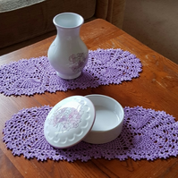 A PAIR OF LILAC TABLE MATS or DOILIES - UNUSUAL 'LONG' SHAPE - 31cm x 12cm