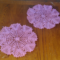 PALE or DARK PINK DOILIES - SET of 2 - LOVELY PICOT EDGING - TABLE DECORATIONS