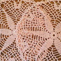 CORAL PINK - STARFISH - PAIR OF DOILIES - 20CM ACROSS - HANDMADE - 100%  COTTON