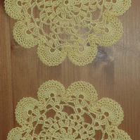 YELLOW DOILIES - SET of 2 - LOVELY SCALLOPED EDGING - 100% COTTON 15cm