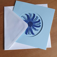 BLUE CARD, BLUE MULTI SPIRAL TO CENTRE - 13CM SQUARE - BLANK FOR YOUR MESSAGE