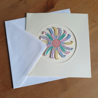 CREAM CARD, PASTEL MULTI SPIRAL TO CENTRE - 13CM SQUARE - BLANK FOR YOUR MESSAGE