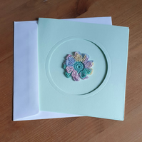 GREEN CARD, PASTELS FLOWER TO CENTRE - 13CM SQUARE - BLANK FOR YOUR MESSAGE