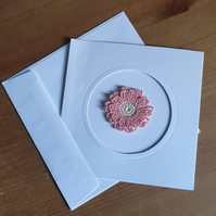 WHITE CARD, PINK & CREAM FLOWER TO CENTRE - 13CM SQUARE - BLANK FOR YOUR MESSAGE