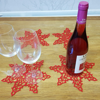 SET OF 4 'SPIDER'S WEB' TABLE DECORATIONS - BRIGHT RED - 22CM ACROSS - HANDMADE