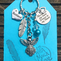 Husband Angel Keepsake Keyring keychain Always on my mind Forever in my heart