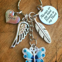 Personalised butterfly Always on my mind Forever in my Heart Keyring Keychain