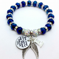 Blue Shamballa your wings were ready but my heart was not personalised bracelet