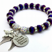 Shamballa Purple bracelet The love between sisters is forever butterfly