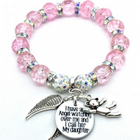 Shamballa I have an angel watching over me Daughter memorial bracelet