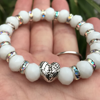 Angelic White Sparkly Heart Angel Wings Bracelet