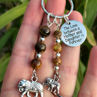 Elephants The Love Between A Mother & Daughter Is Forever Keyring Keychain Gift