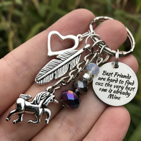 Unicorn Best Friends Rainbow Coloured Keyring Keychain Gift