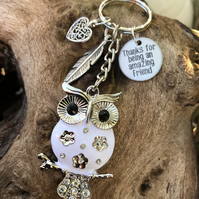 Olivia The Owl Thanks For Being An Amazing Friend Keyring Gift