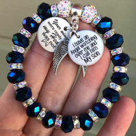 Blue Shamballa Son Memorial Angel Bracelet