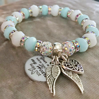 Baby Blue Shamballa Wings Were Ready But Heart Was Not Memorial Angel Bracelet