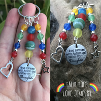 I Love Someone With Autism My Daughter  Keyring Holistic Healing Gemstones