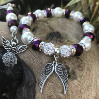 Sparkly Shamballa Angel Wing Bracelet & Guardian Angel Keyring