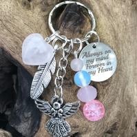 Rose Quartz & Opalite Always On Amy Mind Forever In My Heart Memorial Keyring
