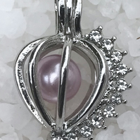 Beautiful Diamanté Cage Pendant Pearl Full Set Sterling Silver Snake Chain