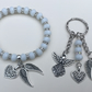 White Sparkly Shamballa Angel Wing Memorial Bracelet & Keyring Set