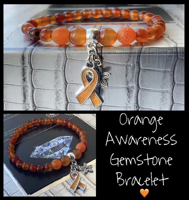 Orange Awareness Gemstone Healing Bracelet Carnelian & Dragons Vein Agate