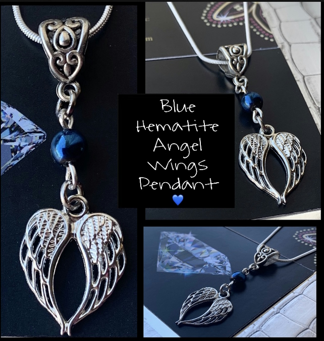 Heart Angel Wings Gemstone Pendant Blue Hematite 925 Chain