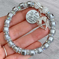 Angel Baby Too Beautiful For Earth Silver Bracelet Keepsake Child Loss