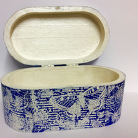 """Flutter"" -Blue and white moth jewellery box"