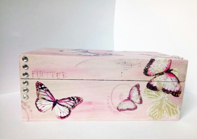Flutter - Pink Decoupage Jewellery Box