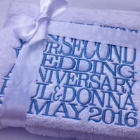 Personalised Embroidered Second 2nd Wedding Anniversary Bath Towels, Cotton Gift