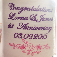 Personalised Embroidered Loo Roll Toilet Paper 1st Wedding Anniversary Gift