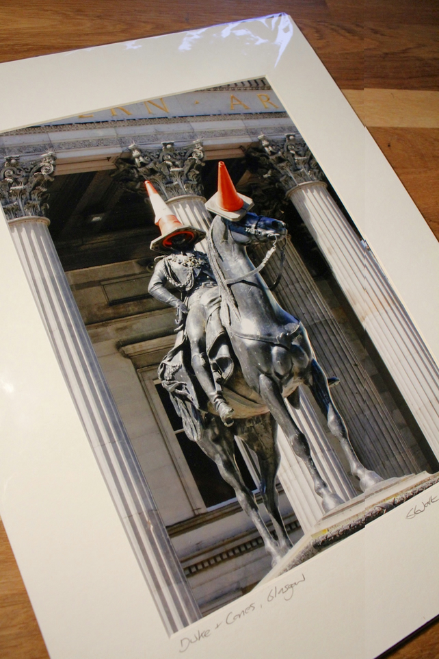DUKE, HORSE, CONES, GLASGOW mounted print