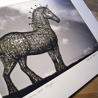 Andy Scott's Heavy Horse, Glasgow,  Large Signed Mounted Print FREE DELIVERY