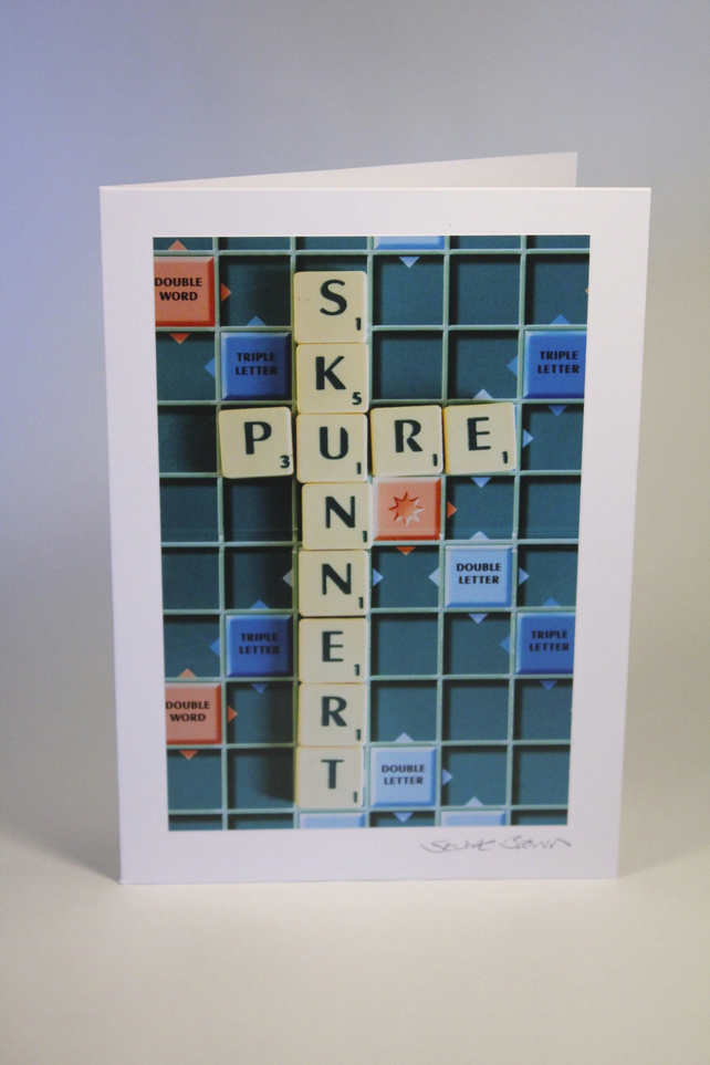PURE SKUNNERT scrabble blank greeting card