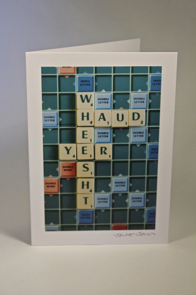 HUAD YER WHEEST scrabble blank greeting card