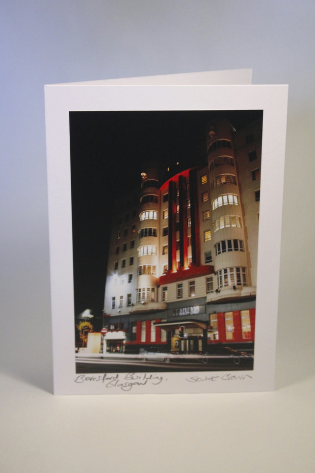 THE BERESFORD BUILDING (NIGHT), GLASGOW blank greeting card