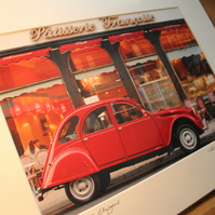 Vintage 2CV, Glasgow Signed Mounted Print FREE DELIVERY