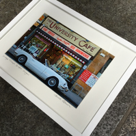 University Cafe, Vintage Triumph Spitfire Glasgow SIGNED FRAMED PRINT