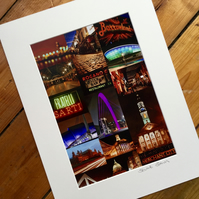 GLASGOW NIGHTS signed mounted print