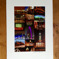 Glasgow Nights signed mounted print FREE DELIVERY